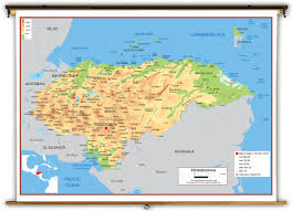 Caribbean Map With Capitals by Honduras Physical Educational Wall Map From Academia Maps
