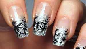 silver glitter tips with black vines design nail art tutorial