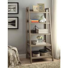 5 Shelves Bookcase Linon Home Decor Tracey Gray Ladder Bookcase 69336gry01u The