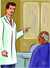 doctor showing his patient a diagram of the spine stock photo