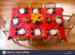 dining room table cloths aerial view of dining room table place settings with red