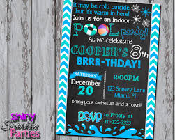 winter pool invitation winter birthday invite indoor