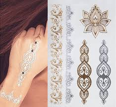 1pcs indian designs golden silver flash tribal henna