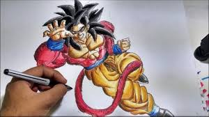 dragon ball drawing goku super saiyan 4 speed painting