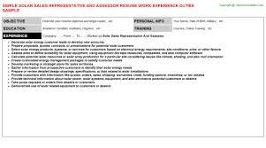 Sales Objective For Resume Solar Sales Representative And Assessor Resume Sample