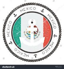 Mexico Flag Symbol Nautical Rubber Stamp Mexico Flag Anchor Stock Vector 355939943