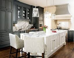 gorgeous two tone kitchen design with charcoal gray kitchen