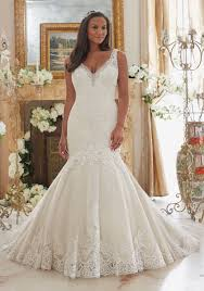 plus size wedding dress with lace on tulle style 3204 morilee
