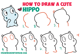 how to draw a cute cartoon baby hippo and butterfly easy step by
