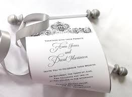 wedding scroll invitations winter wedding invitation scroll black and silver damask