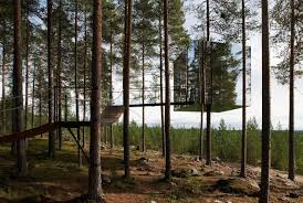invisible tree hotel is camouflaged in lush swedish forest