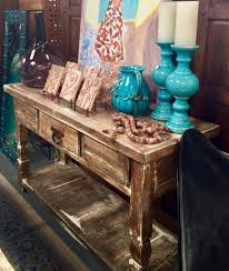 calabasas rustic washed console table made in mexico