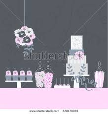 wedding sweet table candy buffet cake stock vector 572036572