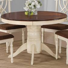 White Round Pedestal Dining Table - Round pedestal dining table in antique white
