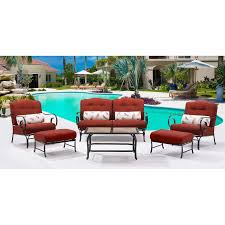 Patio Table Tile Top Oceana 6 Piece Seating Set In Crimson Red With Tile Top Coffee