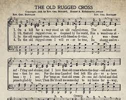 Song Lyrics Old Rugged Cross The Old Rugged Cross Etsy