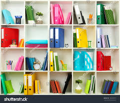 white office shelves different stationery close stock photo