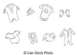 eps vectors of hand drawn wardrobe sketch clothes for baby