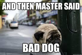 Bad Dog Meme - and then master said bad dog worlds saddest dog quickmeme