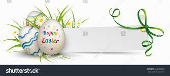 green paper easter grass easter eggs grass flowers paper banner stock vector 580483432