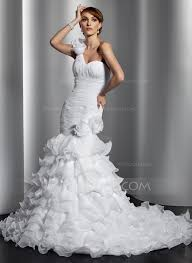 trumpet mermaid one shoulder chapel train organza wedding dress