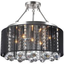 Chandelier With Black Shades Crystal 5 Light Black Shade And Satin Nickel Semi Ceiling Lamp