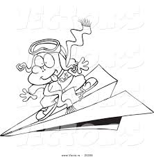 vector of a cartoon pilot boy flying on a paper plane outlined