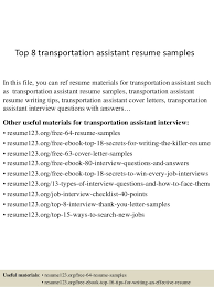 Top Resume Sample by Top 8 Transportation Assistant Resume Samples 1 638 Jpg Cb U003d1431510280