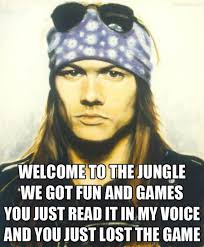 The Game Meme - welcome to the jungle we got fun and games you just read it in my