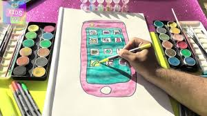 how to draw mobile phone coloring page drawing painting learning