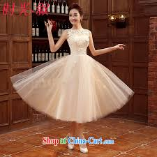 wedding dress version syria 2015 korean version chagne color bridesmaid serving small