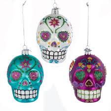 kurt adler noble gems sugar skull glass ornaments nb1071
