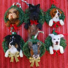 custom needle felted christmas ornaments dog ooak by