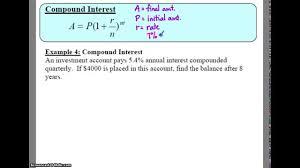 Compound Interest Worksheets Algebra 2 7 2 Notes Example 4 Compound Interest Youtube