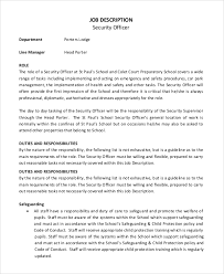 sample security officer job description 8 examples in pdf word