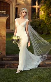 best cap sleeves sheath ivory lace backless wedding dress weddingood