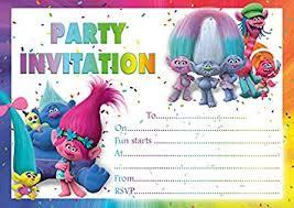 party invitations 10 x trolls children birthday party invitations blue envelopes