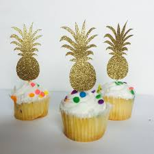 10ct golden pineapple cupcake toppers hawaiian party theme