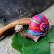 buy bright pink striped coloured resin snail garden ornament from