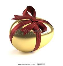 golden easter egg golden easter egg ribbon stock illustration 71227858