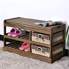 superb solid wood shoe storage bench wooden shoe rack with two