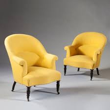 French Yellow Chair Pair Of French 19th Century Yellow Tub Bergere Armchairs