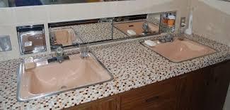 bathroom countertop tile ideas 1960s tile bathroom countertop including recessed metal cabinet
