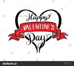 happy valentines day lettering hand drawn stock vector 557674054