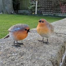 pair of small garden robin bird ornaments a set of two garden