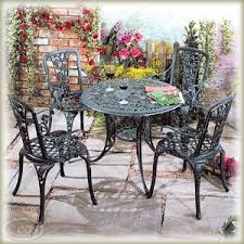 garden furniture round rose pattern cast iron patio set chair and