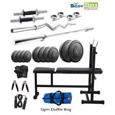 Buy Flat Bench 32 Kg Body Maxx Premium Home Gym 4 Rods Inc Dec Flat Bench