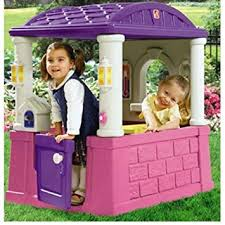 Amazon Backyard Playsets by Amazon Com Kids Outdoor Playhouse With 2 Built In Seats And