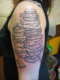 literary books tattoo on left half sleeve