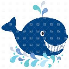 cute cartoon smiling whale with fountain vector clipart image